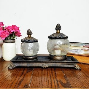 Rustic Glass Orb Crackled Candle Set